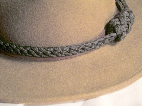A hat band made from 4 strand braid, with Turk's Head knots.