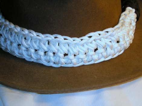 A hat band made by crocheting 60' of paracord.